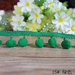New 18 Colors 20yards/lot Pom Pom Trim Ball Tassel Lace DIY Sewing Accessory Lace Christmas Lace Decoration Fringe Pom Pom Lace green