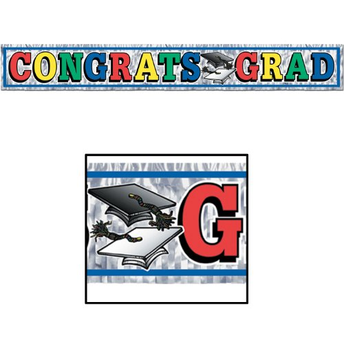Metallic Congrats Grad Fringe Banner 8in. x 5ft. Pkg/6