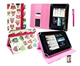 Emartbuy® Hot Pink Stylus + Universal Range ( 8 - 9 Inch ) Multi-Coloured Owls Pattern Angle Executive Folio Wallet Case Cover With Card Slots Suitable for Archos 80 Cobalt 8 Inch Tablet
