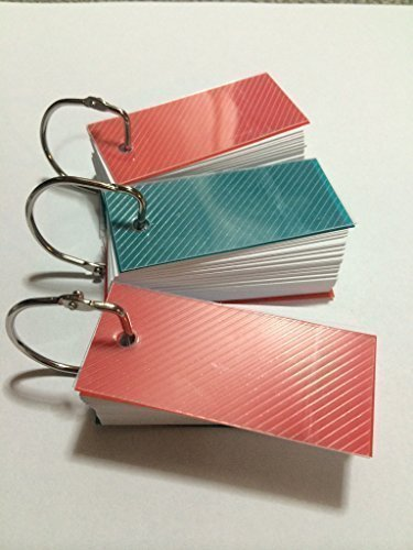 Mini Blank Flash Cards with Binder Ring - 1.3 X 2.8 Set of 3 Decks, 110 Cards Each (330 Cards)