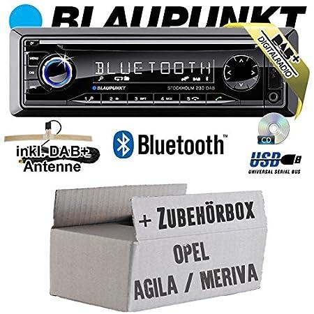 Opel Agila A Meriva A schwarz - BLAUPUNKT Stockholm 230 DAB - DAB+/CD/MP3/USB Autoradio inkl. Bluetooth - Einbauset