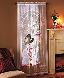 Lighted Seasonal Lace Window Panels (Snowman) by GetSet2Save
