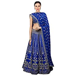 Fabron Royal blue dori work art silk lehenga choli & dupatta set.