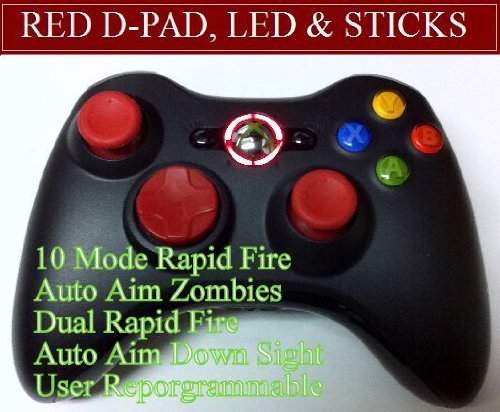 Xbox 360 Modded Controller 10 Mode Rapid Fire Wireless with Red D-pad, Led, and Thumb Sticks!