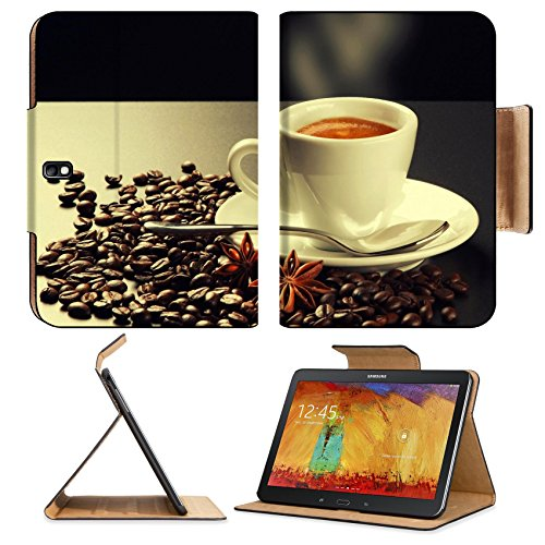 Hot Steam Coffee Beans Cup Samsung Tab Pro 10.1 Flip Case Stand Smart Magnetic Cover Open Ports Customized Made To Order Support Ready Premium Deluxe Pu Leather Msd Professional Graphic Background Covers Designed Model Folio Sleeve Hd Template Designed Wa front-118647