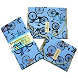 SnackTaxi Reusable Sandwich-sack Bag, Snack-sack Bag and Twice-as-nice Napkin Bikes Set.