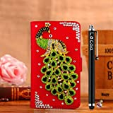 Locaa(TM) HTC Desire 510 HTC510 3D Bling Peacock Case + Phone stylus + Anti-dust ear plug Deluxe Luxury Crystal Pearl Diamond Rhinestone eye-catching Beautiful Leather Retro Support bumper Cover Card Holder Wallet Cases [Peacock Series] Blue case - Green