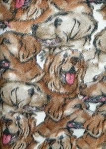 Multi-Breed Dog Face Fleece Fabric, 2 Yards