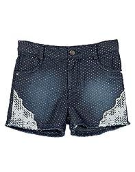Beebay Polka Dotted Denim Short With Lace (G1415111800416_Denim Blue _10Y)