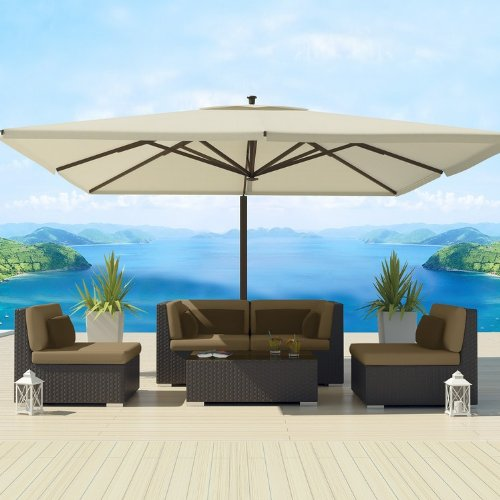 Uduka Outdoor Sectional Patio Furniture Espresso Brown Wicker Sofa Set Daly 5 Taupe All Weather Couch