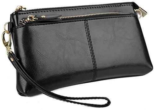 Yaluxe Donna grande Capacità pelle Borsa Pochette da giorno con Spallina adatto IPhone 6s Plus (Confezioni Regalo) nero