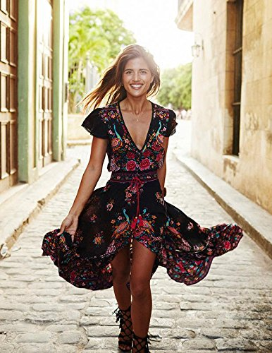 DMTRADE Easily Wear Breathable Chic Design Fashion Summer Vintage Boho Long Maxi Evening Party Beach Dress Floral Sundress M 0