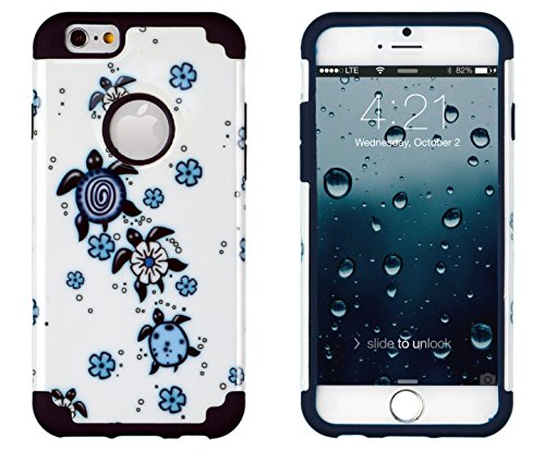 """Iphone 6, Dandycase 2In1 Hybrid High Impact Hard Turtles Pattern + Blue Silicone Case Cover For Apple Iphone 6 (4.7"""" Screen) + Dandycase Screen Cleaner"""