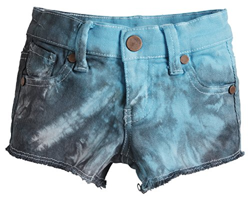 Chillykids Big Girls Frayed Hem Tie Dyed Sporty Durable Denim Cut Off Shorts - Grey 102 (Size 7) Rugged Cut Off Short