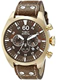 Invicta Men's 19669 Aviator Gold-Tone Stainless Steel Watch With Brown Leather Band
