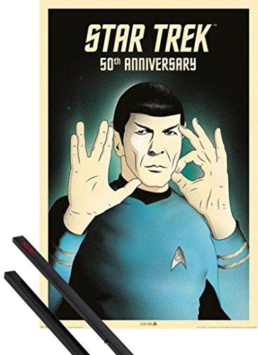 Poster + Sospensione : Star Trek Poster Stampa (91x61 cm) Spock 5-0, 50th Anniversary E Coppia Di Barre Porta Poster Nere 1art1®