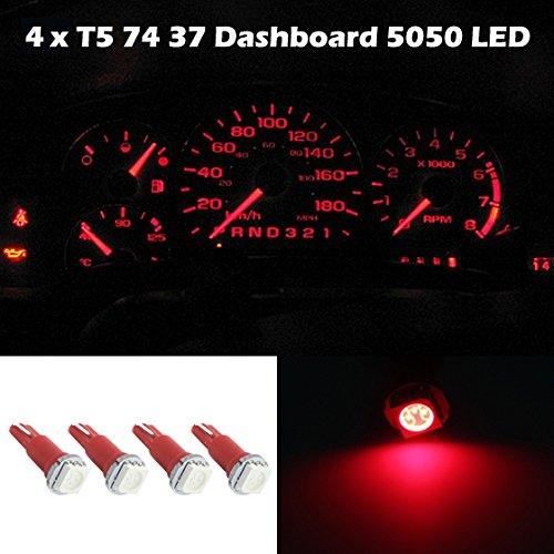 Partsam 4X Car T5 37 58 70 73 74 Red Gauge Dashboard Wedge Led Light Lamp Bulb 12V For 2007-2012 Honda Fit