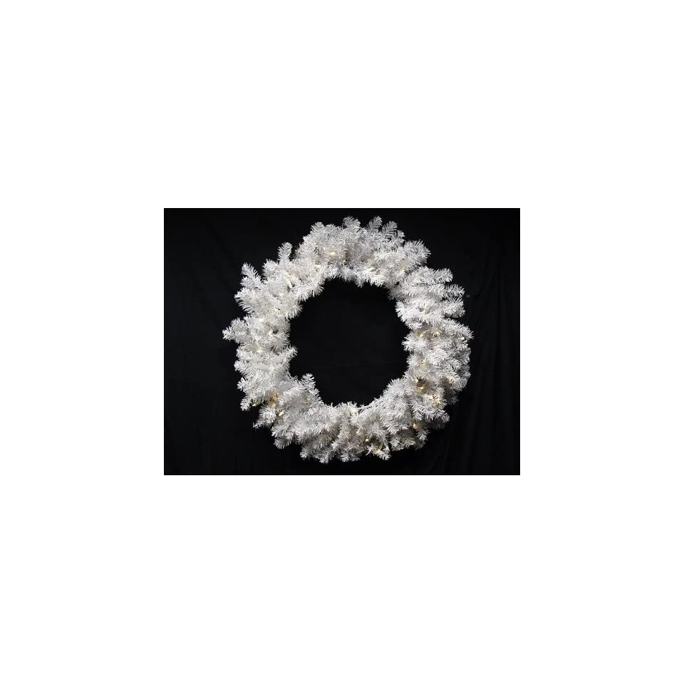 30 Battery Operated Pre Lit LED Snow White Christmas Wreath   Clear Lights
