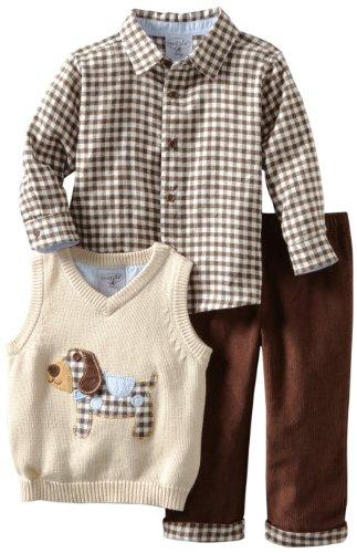 Mud Pie Baby-Boys Infant Puppy 3-Piece Sweater Set, Multi, 9-12 Month