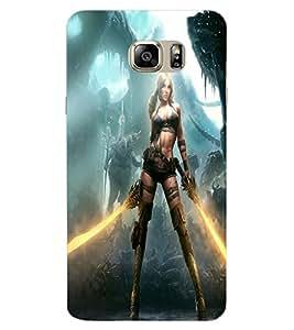 ColourCraft Warrior Girl Design Back Case Cover for SAMSUNG GALAXY NOTE 7 DUOS