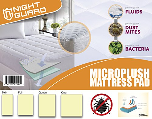 Mattress Pad By Night Guard - Cooling Bed Cover - Overfilled Ultra Soft Hypoallergenic Microplush - 220gsm - Fits Mattresses Up To 18 inch - Improves Sleeping Quality - King (Fitted Sheet Split King Power Bed compare prices)