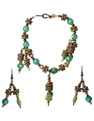 Sharnam Art Marvellous Green Wood & Resin Funky Bracelet Set - SH301_8755