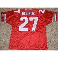 Signed Eddie George Jersey - Osu #27 W Ht 95 - Autographed College Jerseys