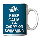 Keep Calm and Carry On Swimming Mug Cup Gift Retro