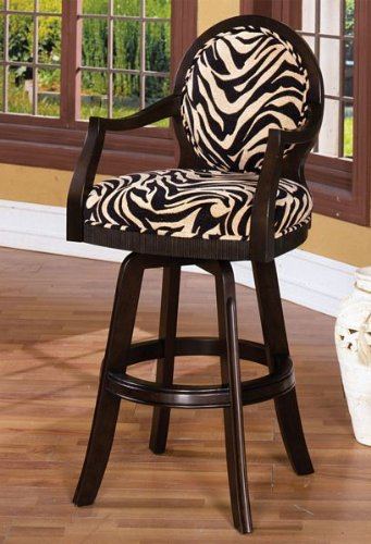 Dark Walnut Finish Zebra Fabric Swivel Bar Stool
