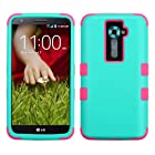 Thousand Eight(TM) For LG G2 Heavy Duty Defender Tuff Hybrid Hard Case With stand Case / Hard Plastic Dual Layer Tuff Shield Heavy Duty Protective Case + [FREE Touch Screen Stylus] (Tuff case Rubberized Teal Green/Electric Pink)