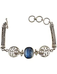 Exotic India Blue Quartz Bracelet With Pearl - Sterling Silver