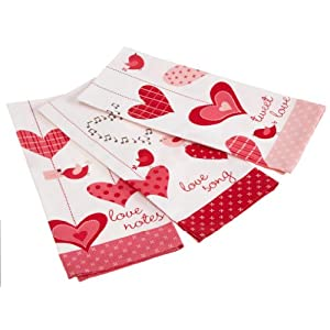 DII Valentines Heart Print Dish Towel, Set of 3