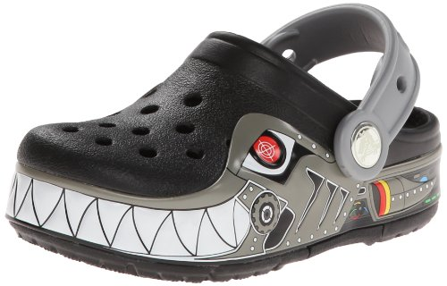 Crocs Crocslights Robo Shark Ps Clog (Toddler/Little Kid),Black/Silver,1 M Us Little Kid