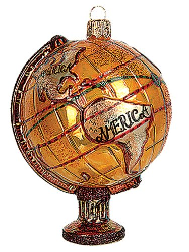 Antique World Globe Polish Blown Glass Christmas Ornament Tree Decoration