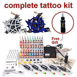 Complete beginner tattoo kit 2 machine gun set for Best tattoo starter kit