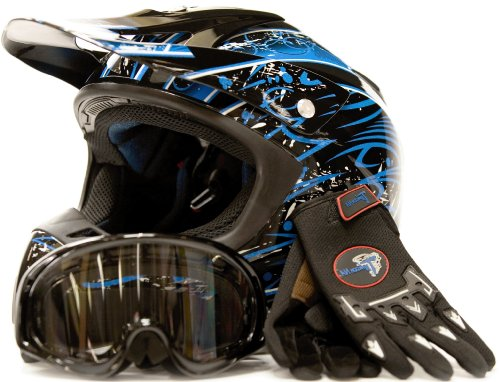 Adult Motocross Helmet Gloves & Goggles ATV Dirt Bike Motorcycle Blue, Medium