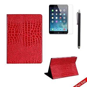boriyuan Case Schutz Hülle iPad 5 Smart Cover Leder Tasche Etui für Ipad Air Displayschutzfolie Microfasertuch Touch-Stift Gratis Farbe: Rot