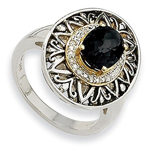 Sterling Silver With 14k 6x9mm Onyx and 1/20ct. Rough Diamond Ring - Ring Size Options Range: L to P
