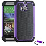 TeKKno® HTC ONE M8 Protective Shock Proof Stylish Dual Case Cover + LCD Guard + Stylus Touch Pen / Purple