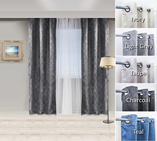Charcoal grey curtain panels
