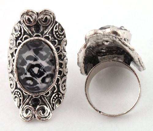 Ladies Silver Antique Style with Leopard Print Oval Center Metal Adjustable Finger Ring