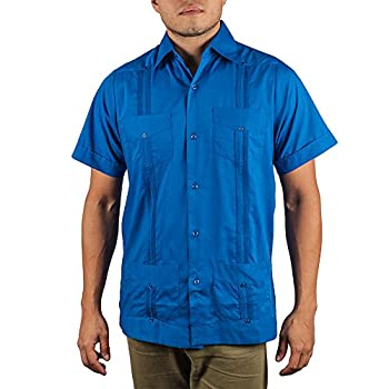 Basic Traditional Cotton Blend guayabera color snorkel blue.