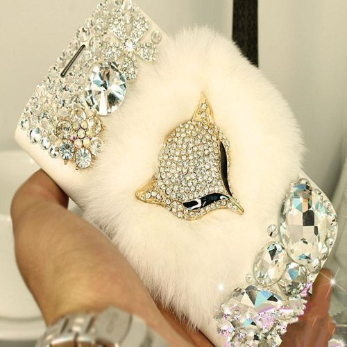 EVTECH(TM) Warm Plush Fox Rhinestones Luxury