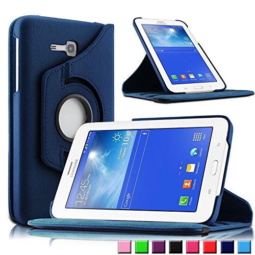 Infiland Samsung Galaxy Tab 3 7.0 Lite Funda Case-PU Cuero 360°Rotación Smart Cover Cascara con Soporte para Samsung Galaxy Tab 3 7.0 Lite T110 T111 (7 Pulgadas) Tablet(Azul Oscuro)