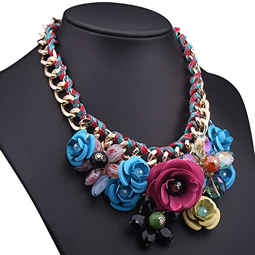 Changeshopping(Tm) Fashion Style Crystal Flower Bib Big Statement Charm Chunky Necklace Collar