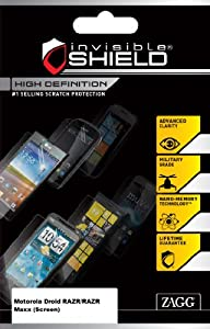 InvisibleShield High Definition for Motorola Droid RAZR/RAZR Maxx (Screen) - Retail Packaging - Clear