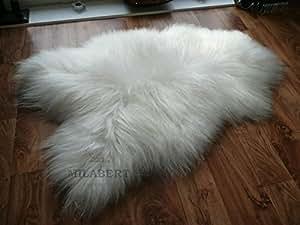 NATURAL GENUINE RARE BREED ICELANDIC SHEEPSKIN RUG CREAMY WHITE - SUPER SOFT TOUCH