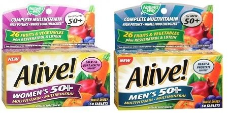 Nature`S Way Alive! Men'S And Women'S 50+ Multivitamin Tablets Combo Set 50 Ct Each