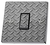 Grey metal Checker Plate Light Switch Sticker vinyl cover skin