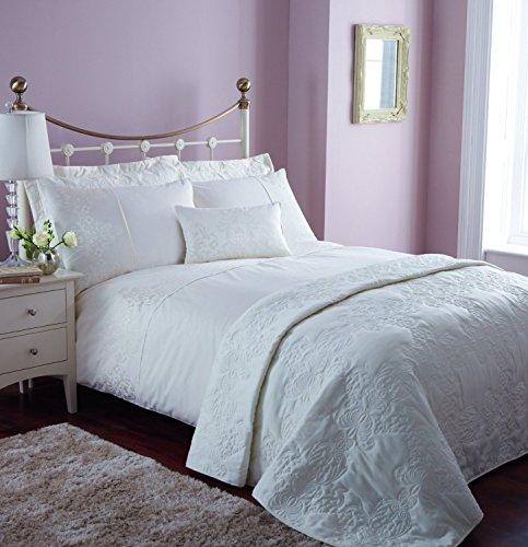 Catherine Lansfield BDB2-9250-WSHQ-CREAM - Fundas para edredón, algodón y poliéster, Lavable a máquina, Esta funda es reversible y Incluye fundas de almohada, color blanco